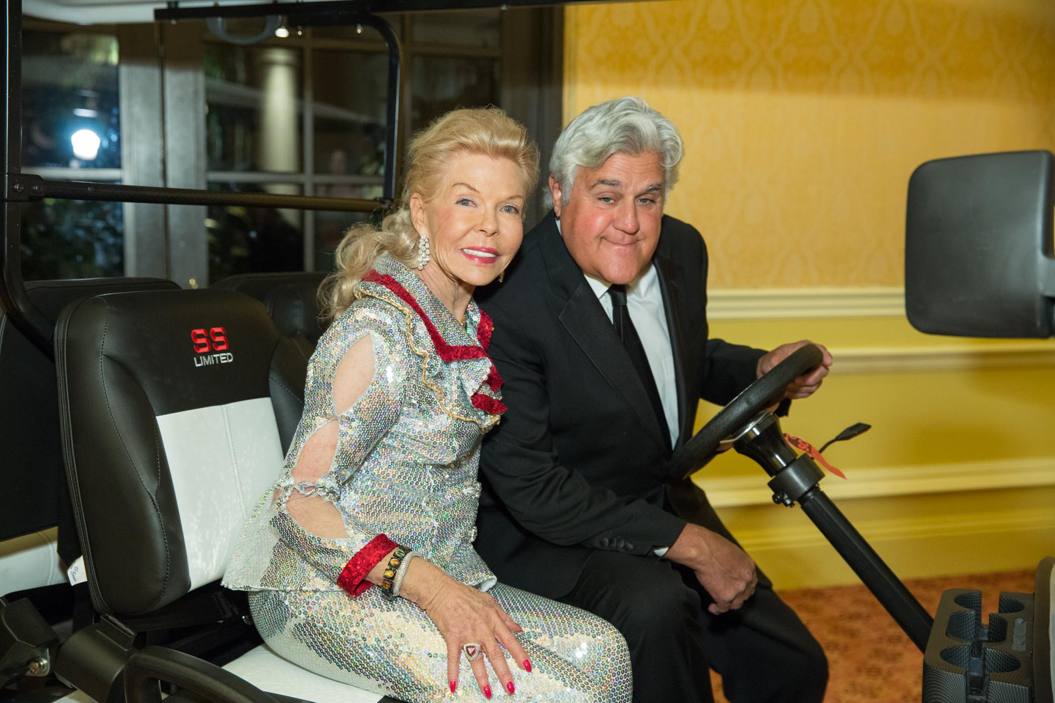 Lois Pope and Jay Leno